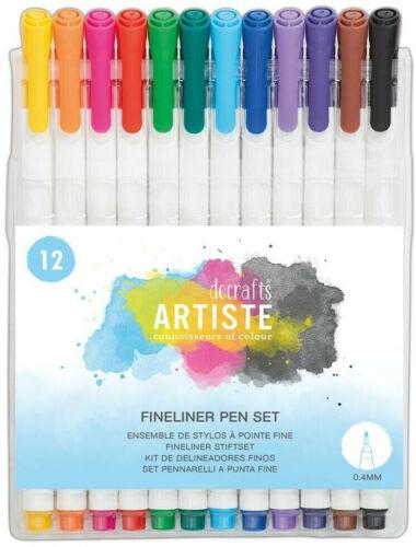 Docrafts Artiste Fine Liner Pen Set  12 PCS  NEW Coloured Fineliners