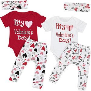 75081ffe 3PCS Newborn Baby Boy Girl Romper+Long Pants+Headband Valentine's ...
