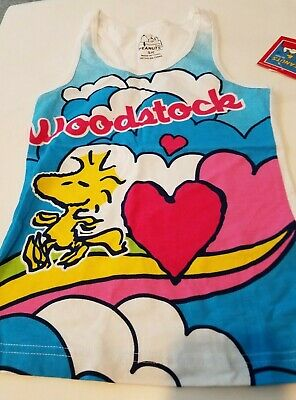 Womens Peanuts Brand White Pink Trim Snoopy Woodstock Sleep Tank Top S M L XL