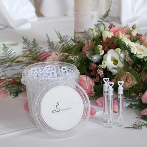 Wedding Bubbles MAVANTO Seifenblasen Hochzeit 64x gefüllt im praktischen Eimer