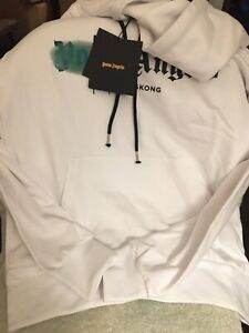 Palm Angels White Logo Graphic Pullover Hoodie Mens Size L NEW