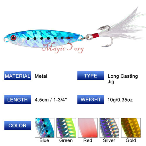 Metal Fishing Jigs with Feather Hooks Freshwater//Saltwater Lures Hard Lure Spoon