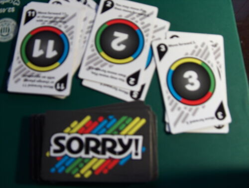 Sorry game drawing deck or cards  replacement pieces//parts Hasbro GREEN SORRY