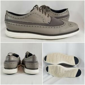 Cole-Haan-Zerogrand-Grand-O-S-Wingtip-Oxford-Lunarlon-Gray-Suede-Mens-Size-9M