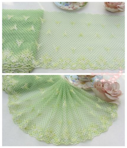"""8/""""*1Y Embroidered Floral Tulle Lace Trim~Green+White~Spring Days~Sewing//DIY~"""