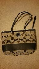 Coach Signature Stripe Brown/ Khaki. Tote / Shoulder Bag  #F19046