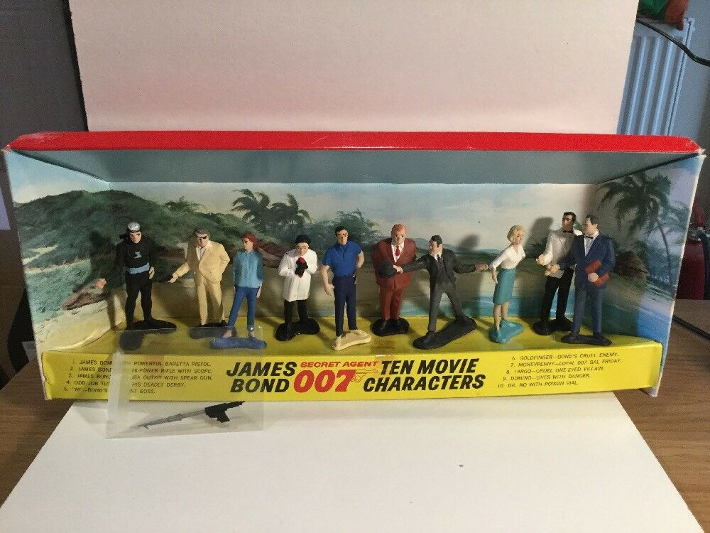 Vintage 1965 Gilbert James Bond 007 Ten Movie Characters Action Figure Set Boxed