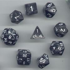 NEW Special RPG Dice 9pc - Pearl Black - standard set plus D24 & D30