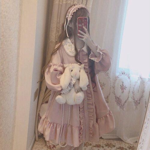 Long Sleeves Cardigan Dress Pink Long Sleeve Lolita Dress Kawaii Princess Party