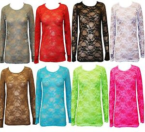 New-Womens-Ladies-Long-Sleeves-Full-Lace-Mesh-Floral-T-Shirt-Top-Size-8-10-12-14
