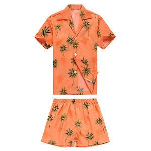 Shirt and Pants Boy/'s Bright Hibiscus Hawaiian Cabana Set
