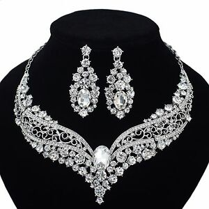 YT297 Clear Rhinestone Crystal Earrings Necklace Set Bridal Wedding Party Gift