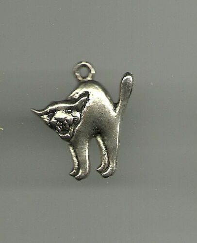 Silver Color Cat Charm for Bracelet or Necklace Jewelry