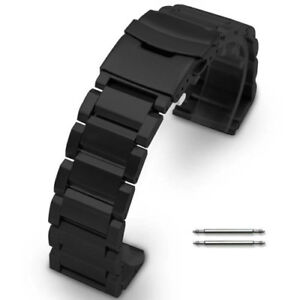 67741b50ba7 Details about 22 23 24mm Stainless Steel Metal Bracelet Wrist Watch Band  Double Locking Buckle