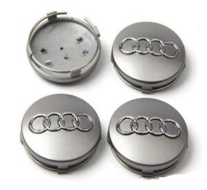 Garanzia di soddisfazione al 100% grande sconto prezzo ridotto Dettagli su Audi grigio 4 pcs Tappi Coprimozzo 60 mm Fregi Borchie Cerchi  60mm