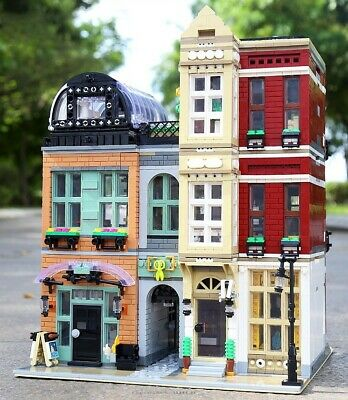 CUSTOM MIXED MODULAR BUILDING SALON SHOP COMPITIBLE W// LEGO FIRE BRIGADE 10197