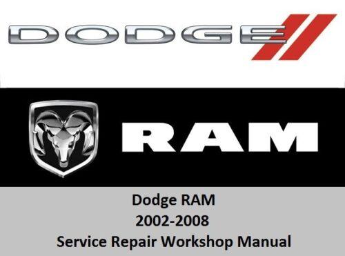 Dodge RAM 2002-2008 Service Repair Workshop Manual 1500 2500 3500 SRT-10  CD