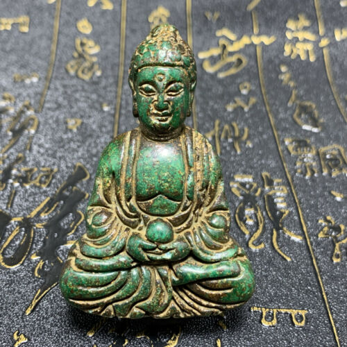 Wholesale Chinese old green jade carved Buddha statue deity pendant benediction