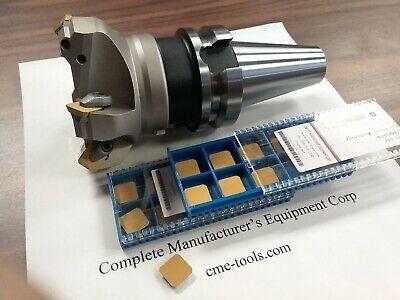 "BT40 arbor 3/"" 90 degree indexable face mill 20 extra inserts Sandvik R390"