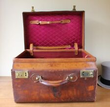 Antique Leather Top Hat Box Case. Large Size Travel Trunk. N Smith Rhode Island.