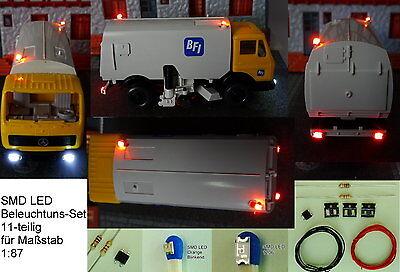 SMD LED Beleuchtungsset 11-tlg Bausatz Stadtfahrzeuge Blinkt Gelb H0 C2925
