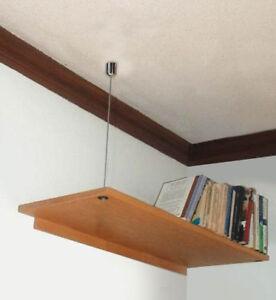 Détails Sur étagère En Bois Renforcer Kit Steel Wire Rope Câble Mur Plafond Suspendue étagères Afficher Le Titre D Origine