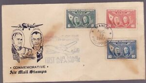Philippines 1947 Airmail Quezon Roosevelt 3 values complete set on FDC