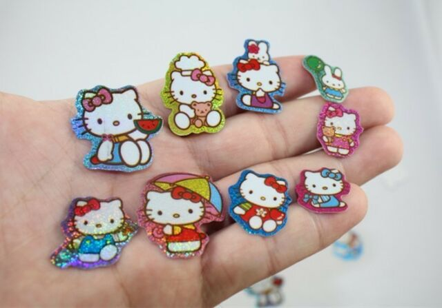 100pcs/pack Cute & Beautiful Hello Kitty Colorful Glittery Small Stickers