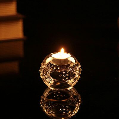 Clear Glass Round Ball Tealight Candle Holder Candlestick Weddingcentrex 1
