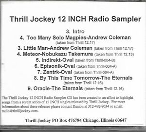 Details about THRILL JOCKEY record label 12 INCH RADIO SAMPLER cd 1999
