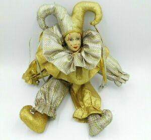 Vintage-BRINNS-Mardi-Gras-Jester-Doll-15-034-Porcelain-w-Metallic-Costume-1986
