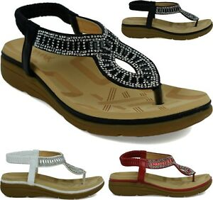 Details about WOMENS LOW HEEL ANKLE STRAPPY STONE WEDGE HEEL LADIES SANDAL UK SIZES 3 8