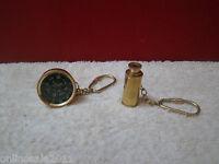 AV Crafts Brass Nautical Marine Pocket Compass and Telescope keychain Gift Decor