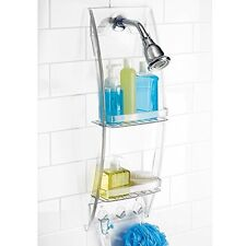 Wall Mount 2 Shelves Caddy Bathroom Shower Storage Rack Holder Clear Suction Cup