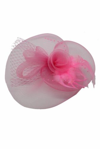 Large Flower Feather Hair Hat Fascinator Headband Clip Mesh Wedding Royal Ascot