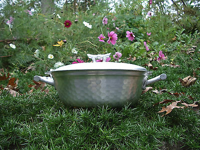 Hammered Wrought Aluminum Covered Dish Pyrex Bowl Vtg 1950s Oriental Bamboo