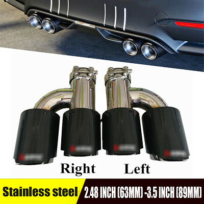 silver Carbon Fiber Bright car Exhaust Pipe Muffler Tip 2.48inch In 3.5 inch out