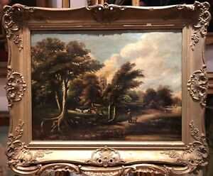 OLD-MASTER-CIRCLE-of-JOHN-CONSTABLE-LARGE-OIL-PAINTING-19th-CENTURY-GOLD-FRAME
