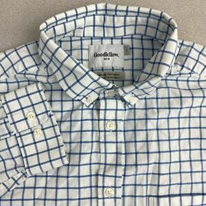 Goodfellow-Button-Up-Shirt-Mens-Large-Blue-White-Long-Sleeve-Standard-Fit-Check