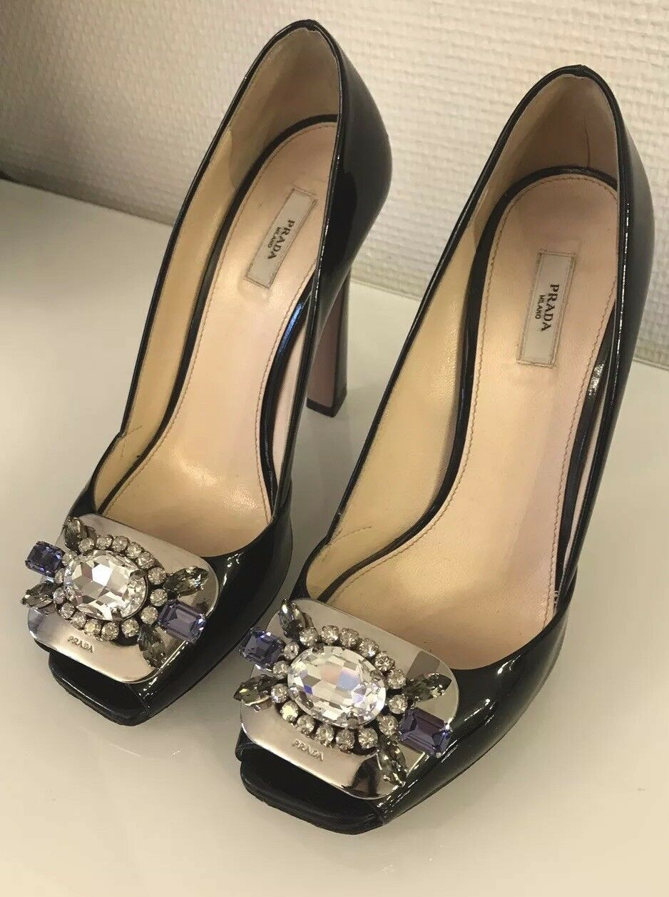 PRADA 37 Pumps Schuhe Stiletto Jewels Couture 100% Original