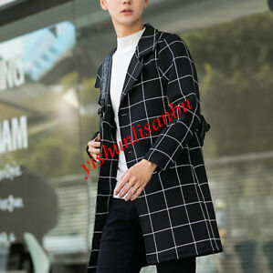 Mens-Slim-Fit-Wool-Blend-Overcoat-Houndstooth-Long-Slim-Fit-Two-Button-Trench