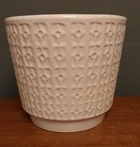 West-German-Plant-Pot-Fat-Lava-Jasba-Vtg-Retro-60s-White-Pottery-Ceramic-70s