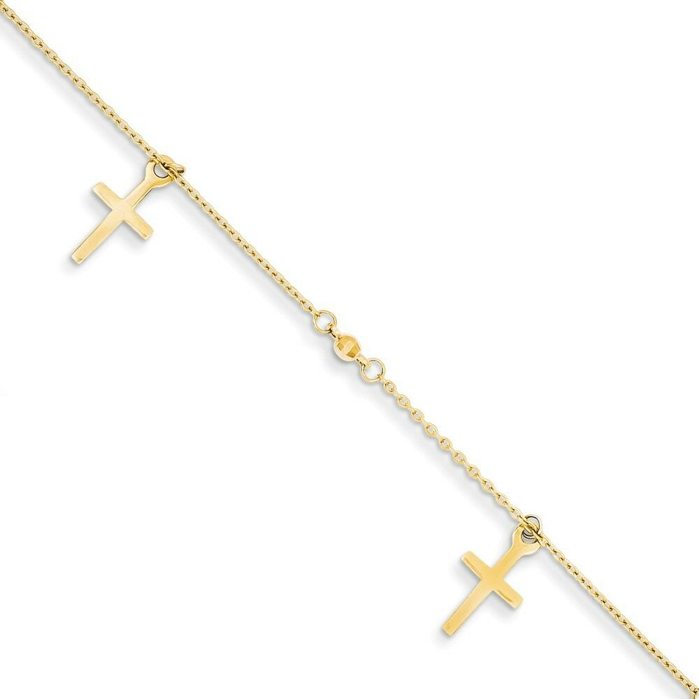 14kt Yellow gold Polished and Textured Cross w  1in ext. Anklet; 9 inch
