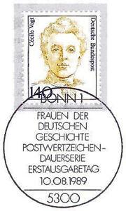 BRD-1989-Cecile-Vogt-Nummer-1432-mit-dem-Bonner-Ersttags-Sonderstempel-1A-157