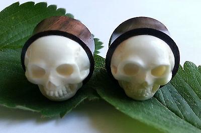 Pair Handmade Organic Whimsical White Horn Owl in Tree Ear Gauge Plugs 8G-0G US
