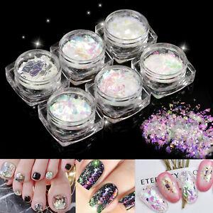 6-Pots-Fashion-Broken-Glass-Nail-Art-Decoration-Paillette-Flake-Irregular-Foil