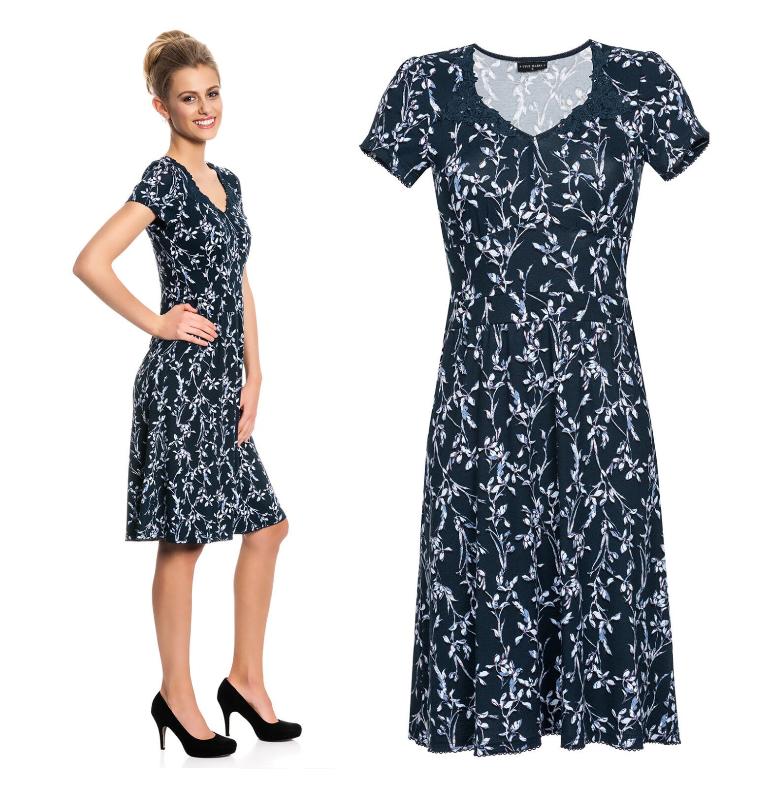 Vive Maria elegante abito Central Park DRESS SCURO BLU PUNTA FLORAL 397972
