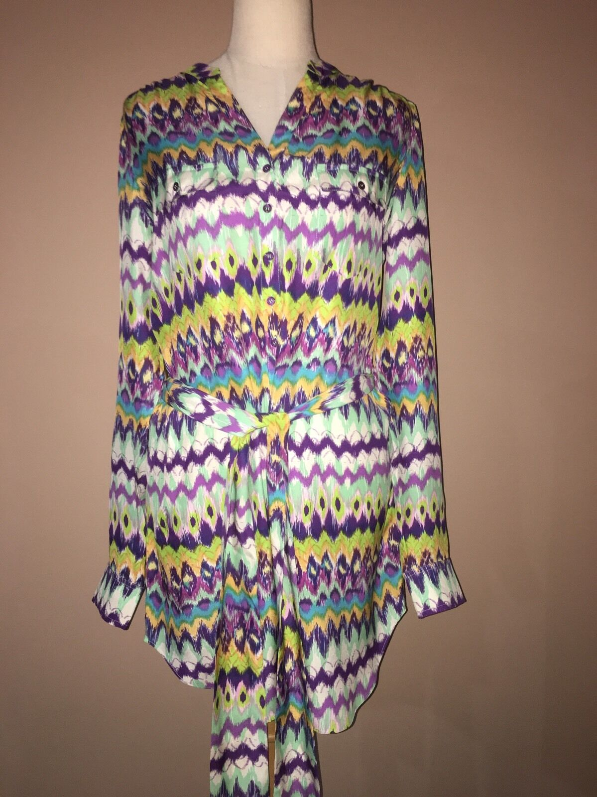 NWT Haute Hippie Multi Multi Multi color GRASS Silk Belted Tunic Sz. L 425  63a95f