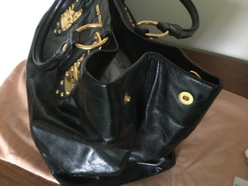 Hardware Tote authenticity gold Black Details Leather Miu xq80IfE