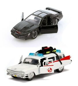 Conjunto-de-2-Jada-Escala-1-32-Knight-Rider-K-i-t-t-amp-Ghostbusters-Ecto-1-automovil-de-fundicion